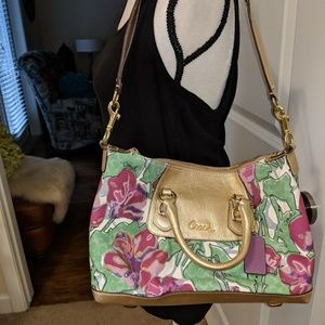 Coach bag- gold and floral